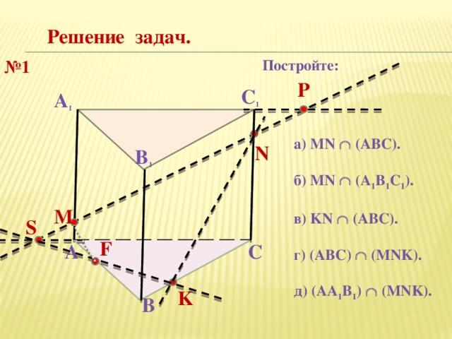 Решение задач. Постройте: № 1 P С 1 А 1 а) MN  (ABC).  б) MN  (A 1 B 1 C 1 ).  в) KN  (ABC).  г) (АВС)  (MNK).  д) (АA 1 B 1 )  (MNK). N В 1 М S F А С K В