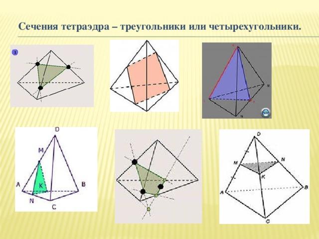 Сечения тетраэдра – треугольники или четырехугольники.