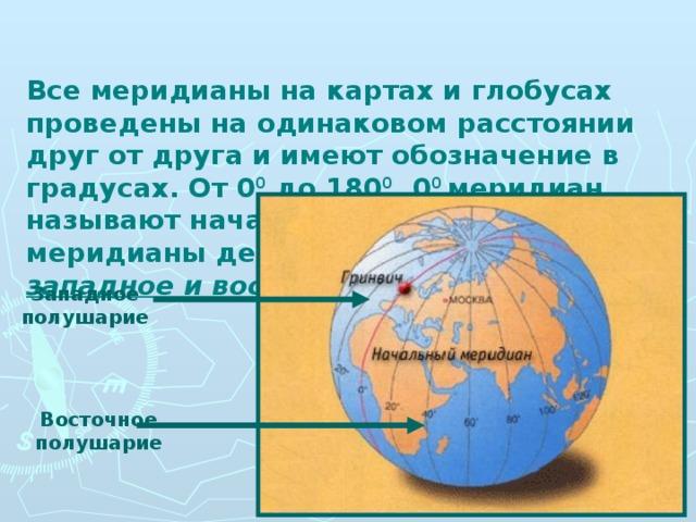 Все меридианы на картах и глобусах проведены на одинаковом расстоянии друг от друга и имеют обозначение в градусах. От 0 0 до 180 0 . 0 0 меридиан называют начальным. 0 0 и 180 0 меридианы делят земной шар на западное и восточное полушария.  Западное полушарие Восточное полушарие