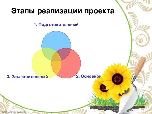 Этапы реализации проекта 1. Подготовительный 2. Основной 3. Заключительный
