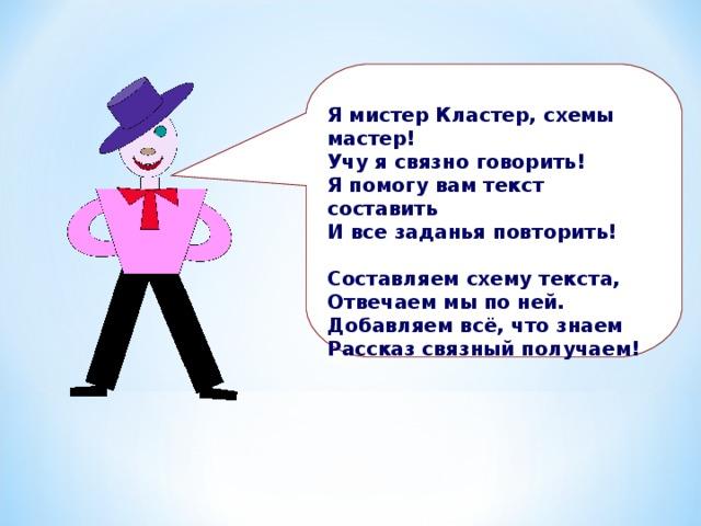 Я мистер Кластер, схемы мастер! Учу я связно говорить! Я помогу вам текст составить И все заданья повторить!  Составляем схему текста, Отвечаем мы по ней. Добавляем всё, что знаем Рассказ связный получаем!