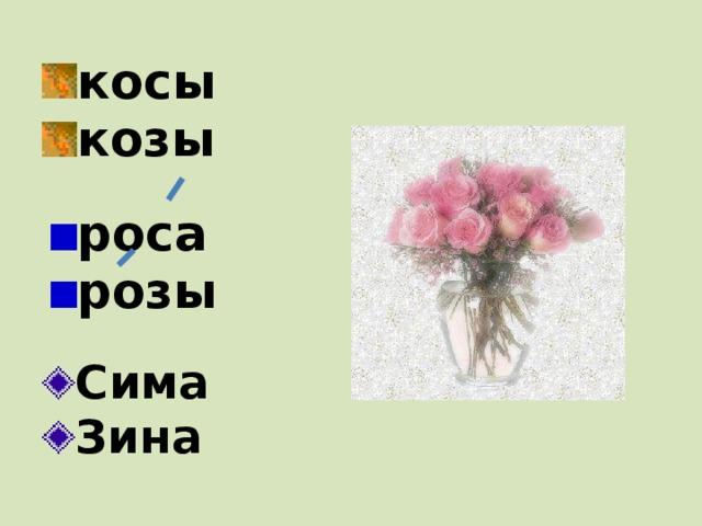 косы козы роса розы Сима Зина