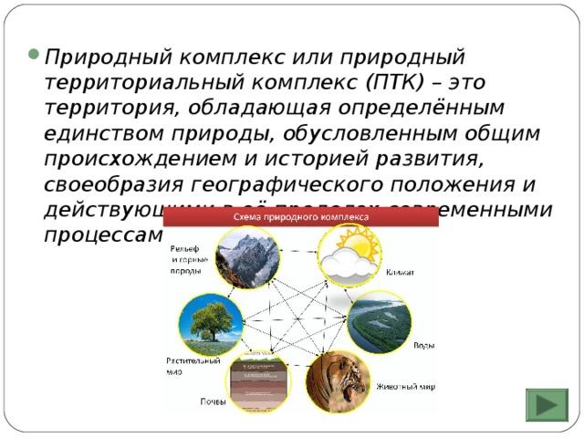 Природный комплекс или природный территориальный комплекс (ПТК) – это территория, обладающая определённым единством природы, обусловленным общим происхождением и историей развития, своеобразия географического положения и действующими в её пределах современными процессами.
