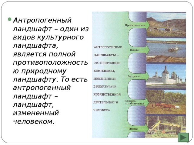 Антропогенный ландшафт – один из видов культурного ландшафта, является полной противоположностью природному ландшафту. То есть антропогенный ландшафт – ландшафт, измененный человеком.