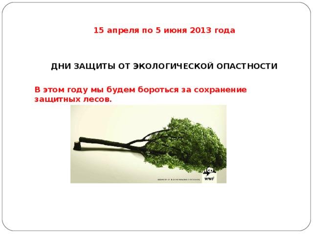 15 апреля по 5 июня 2013 года   ДНИ ЗАЩИТЫ ОТ ЭКОЛОГИЧЕСКОЙ ОПАСТНОСТИ В этом году мы будем бороться за сохранение защитных лесов.