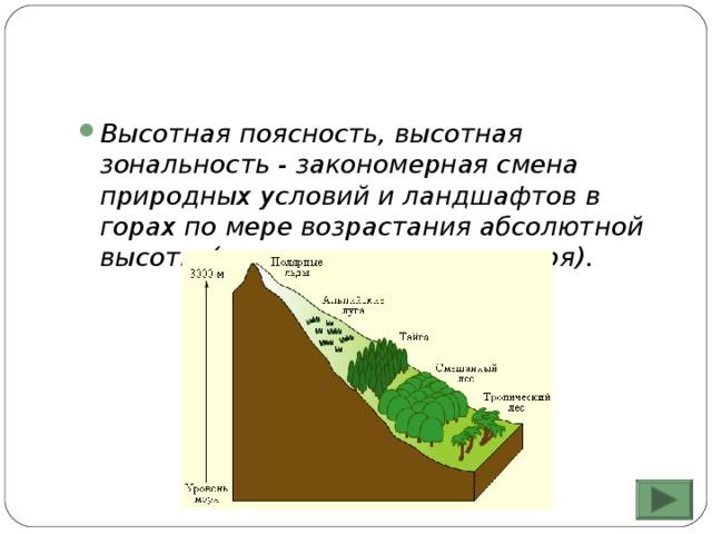 Высотная поясность, высотная зональность - закономерная смена природных условий и ландшафтов в горах по мере возрастания абсолютной высоты (высоты над уровнем моря).