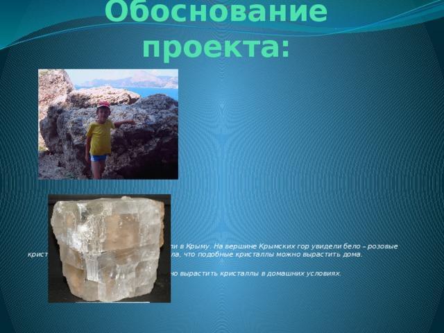 Обоснование проекта:                      Летом мы всей семьей отдыхали в Крыму. На вершине Крымских гор увидели бело – розовые кристаллы сильвинита. Мама рассказала, что подобные кристаллы можно вырастить дома.  Мы заинтересовались, как можно вырастить кристаллы в домашних условиях.