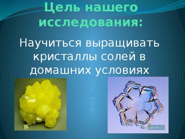Цель нашего исследования: Научиться выращивать кристаллы солей в домашних условиях