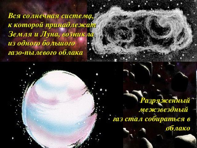 Вся солнечная система, к которой принадлежат Земля и Луна, возникла из одного большого газо-пылевого облака Разряженный межзвездный газ стал собираться в облако