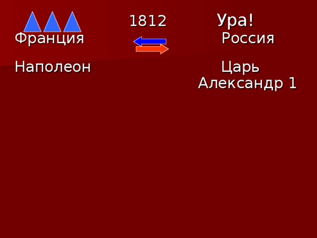 1812  Ура! Франция  Россия  Наполеон  Царь  Александр 1