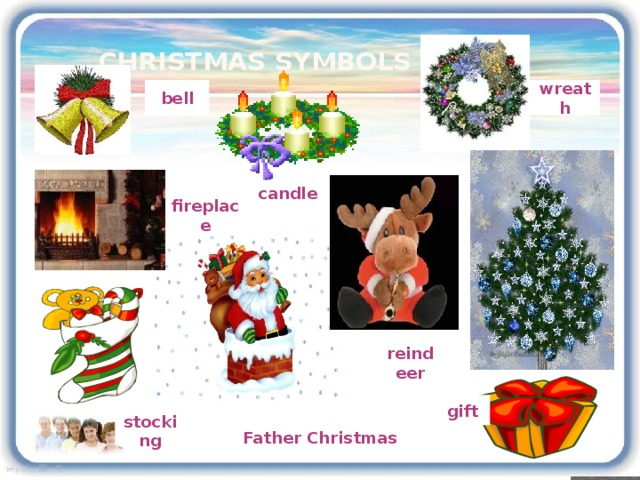 Christmas symbols bell wreath candle fireplace reindeer gift Father Christmas stocking