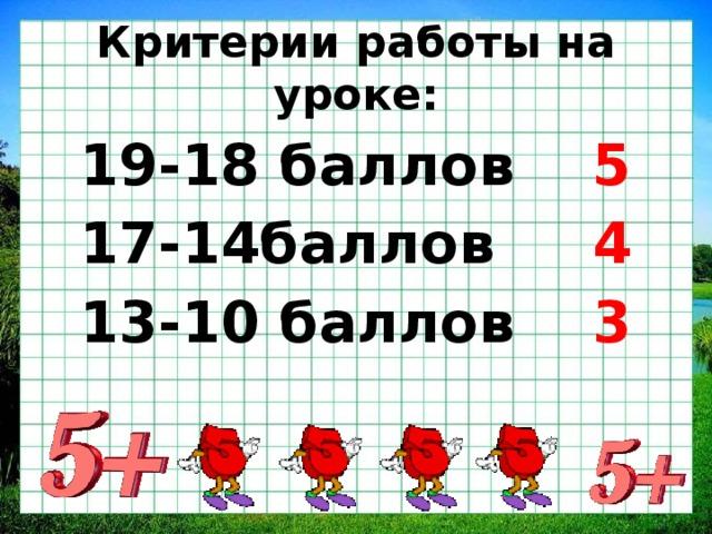 Критерии работы на уроке: 19-18 баллов 5 17-14баллов 4 13-10 баллов 3