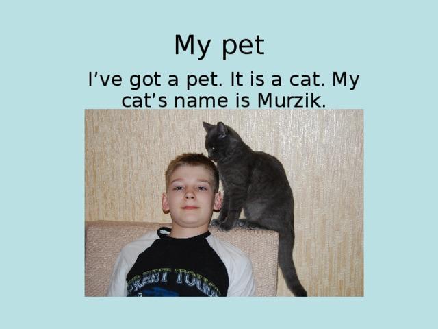 My pet I've got a pet. It is a cat. My cat's name is Murzik.