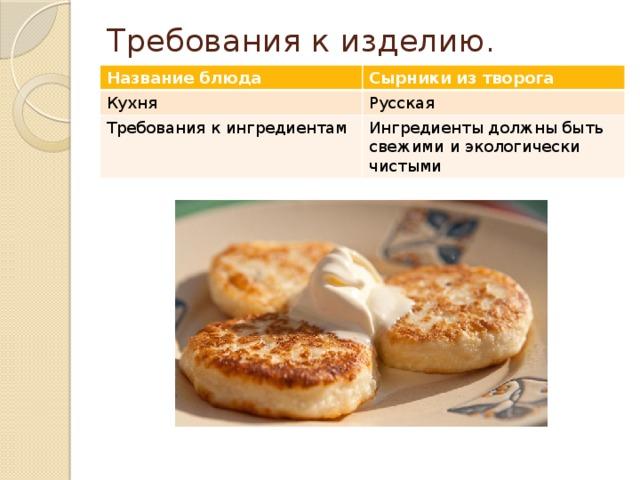 Доклад на тему сырники 5674