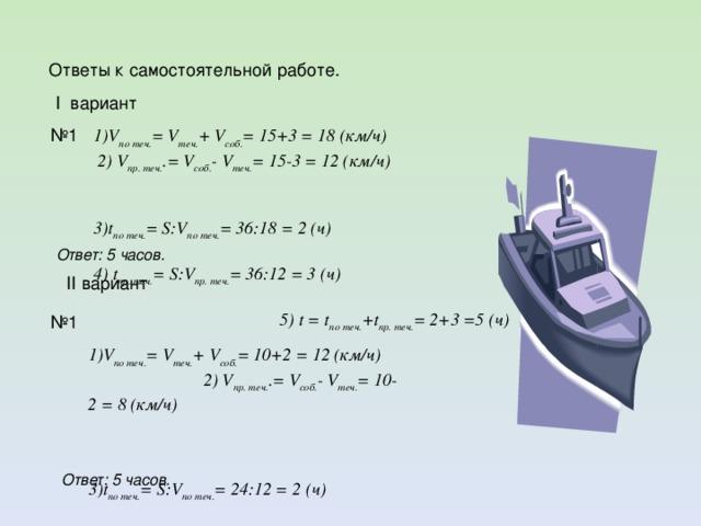 Ответы к самостоятельной работе.  I вариант  1)V по теч. = V теч. + V соб. = 15+3 = 18 (км/ч) 2) V пр. теч. .= V соб. - V теч. = 15-3 = 12 (км/ч)  3)t по теч. = S:V по теч. = 36:18 = 2 (ч)  4) t пр. теч. = S:V пр. теч. = 36:12 = 3 (ч) 5) t = t по теч. +t пр. теч. = 2+3 =5 (ч) № 1 Ответ: 5 часов.  II вариант № 1  1)V по теч. = V теч. + V соб. = 10+2 = 12 (км/ч) 2) V пр. теч. .= V соб. - V теч. = 10-2 = 8 (км/ч)  3)t по теч. = S:V по теч. = 24:12 = 2 (ч)  4) t пр. теч. = S:V пр. теч. = 24:8 = 3 (ч) 5) t = t по теч. +t пр. теч. = 2+3 =5 (ч) Ответ: 5 часов.