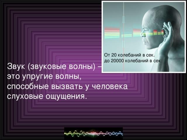 Звук (звуковые волны) – это упругие волны, способные вызвать у человека слуховые ощущения.
