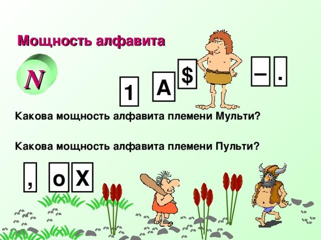 Мощность алфавита . – N $ А 1 Какова мощность алфавита племени Мульти? Какова мощность алфавита племени Пульти? о Х , 9