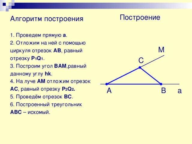 Построение треугольника по двум сторонам и углу между ними.