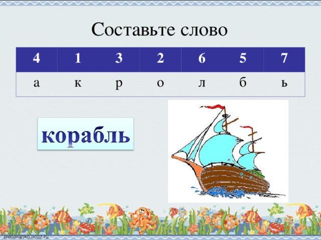 Составьте слово 4 а 1 3 к 2 р 6 о 5 л 7 б ь