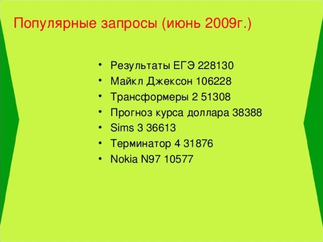 Популярные запросы (июнь 2009г.)