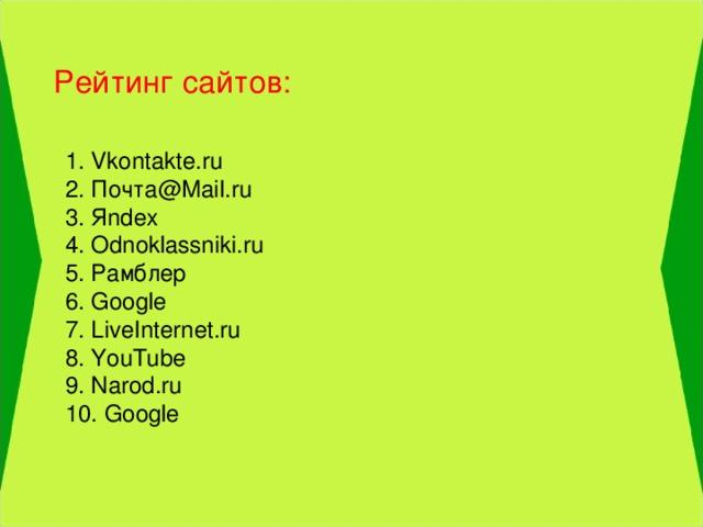 Рейтинг сайтов: 1. Vkontakte.ru  2. Почта @Mail.ru  3. Я ndex  4. Odnoklassniki.ru  5. Рамблер  6. Google  7. LiveInternet.ru  8. YouTube  9. Narod.ru  10. Google