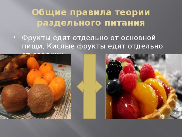 Общие правила теории раздельного питания