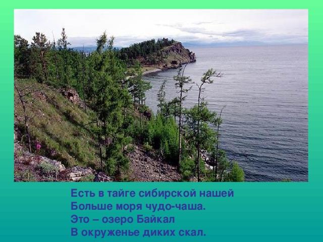 Есть в тайге сибирской нашей Больше моря чудо-чаша. Это – озеро Байкал В окруженье диких скал.