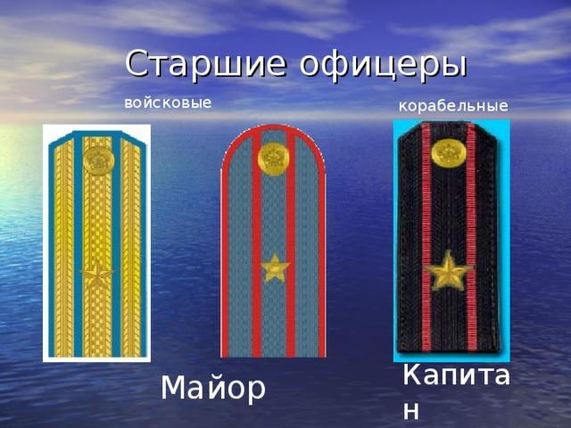 Старшие офицеры  войсковые корабельные Капитан 3 ранга Майор