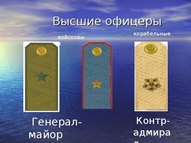 Высшие офицеры корабельные  войсковые   Контр- адмирал   Генерал-майор