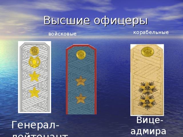 Высшие офицеры корабельные войсковые   Вице- адмирал Генерал-лейтенант