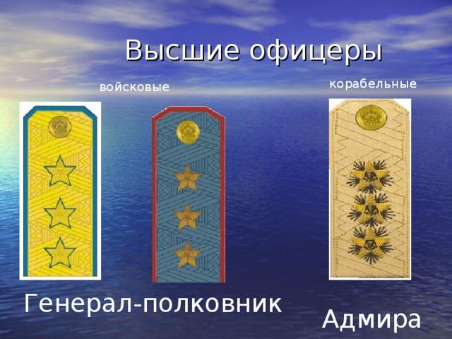 Высшие офицеры корабельные  войсковые Генерал-полковник  Адмирал