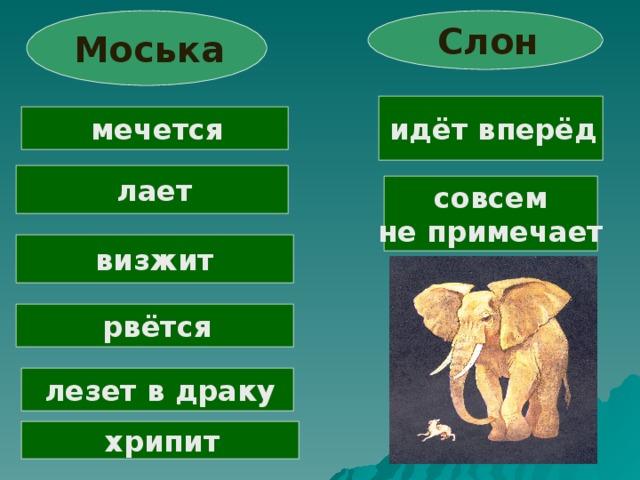 Слон  Моська  идёт вперёд  мечется  лает совсем не примечает визжит  рвётся  лезет в драку  хрипит