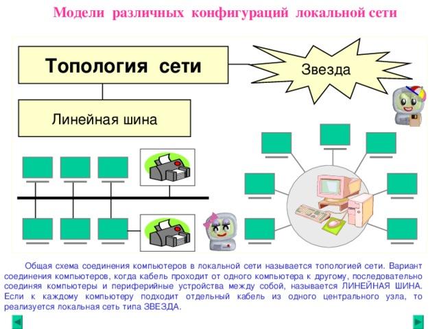 Модели различных конфигураций локальной сети Звезда Топология сети Линейная шина  Общая схема соединения компьютеров в локальной сети называется топологией сети. Вариант соединения компьютеров, когда кабель проходит от одного компьютера к другому, последовательно соединяя компьютеры и периферийные устройства между собой, называется ЛИНЕЙНАЯ ШИНА. Если к каждому компьютеру подходит отдельный кабель из одного центрального узла, то реализуется локальная сеть типа ЗВЕЗДА.