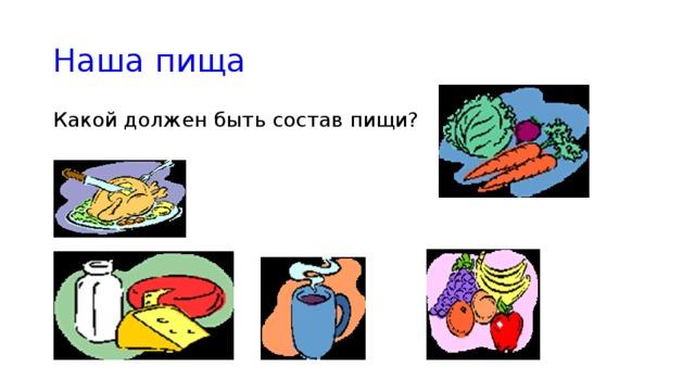 Наша пища Какой должен быть состав пищи?
