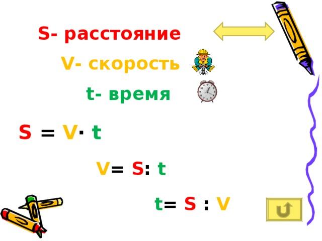 S - расстояние V - скорость t - время S = V ∙  t V = S :  t t = S :  V