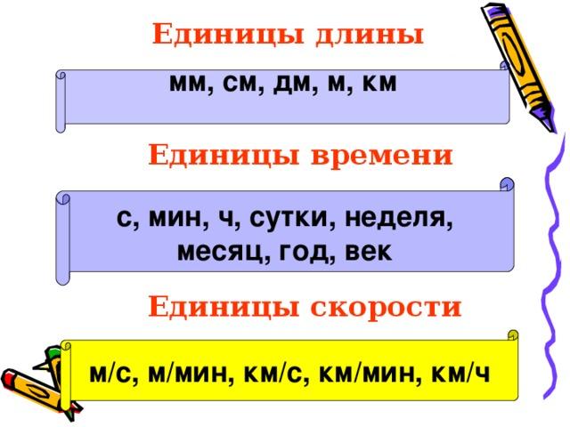 Единицы длины мм, см, дм, м, км  Единицы времени  с, мин, ч, сутки, неделя, месяц, год, век   Единицы скорости м/с, м/мин, км/с, км/мин, км/ч