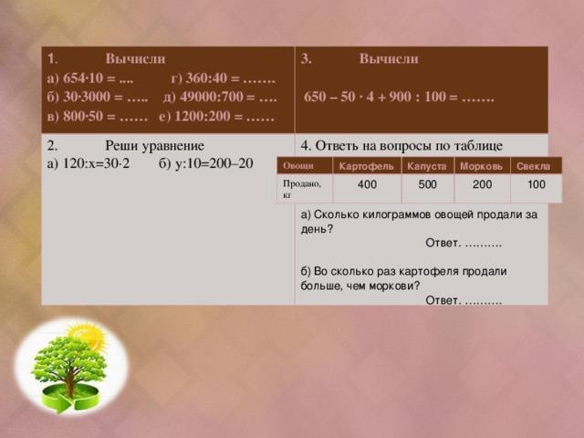 1 .  Вычисли 3.  Вычисли   650 – 50 ∙ 4 + 900 : 100 = …….  2.  Реши уравнение а) 120:х=30∙2 б) у:10=200–20 а) 654∙10 = .... г) 360:40 = ……. б) 30∙3000 = ….. д) 49000:700 = …. в) 800∙50 = …… е) 1200:200 = ……  4. Ответь на вопросы по таблице а) Сколько килограммов овощей продали за день?  Ответ. ……….  б) Во сколько раз картофеля продали больше, чем моркови?  Ответ. ………. Овощи Картофель Продано, кг 400 Капуста Морковь 500 Свекла 200 100