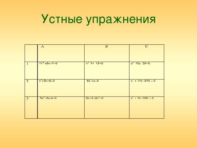 Устные упражнения 7х 2 +9х+2=0 х 2 –2х–15=0 х 2 +5х+6=0 у 2 –10у–39=0.  5х 2 +8х-4=0  6х 2 +х=0 х 2 + 14х -240 = 0 2х+3+2х 2 =0 х 2 + 7х -330 = 0