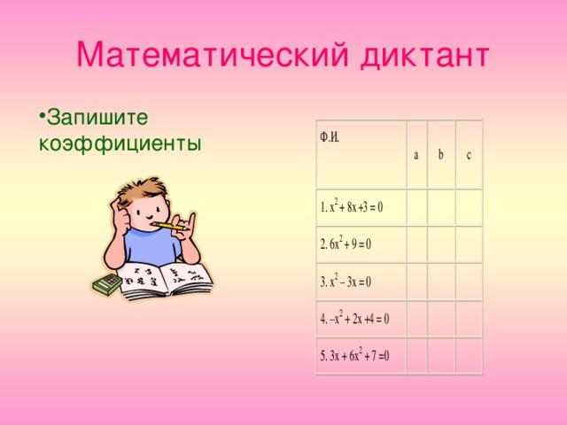 Математический диктант Запишите коэффициенты 2  2 2 2 2
