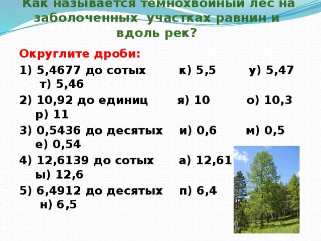 Как называется темнохвойный лес на заболоченных участках равнин и вдоль рек? Округлите дроби: 1) 5,4677 до сотых к) 5,5 у) 5,47 т) 5,46 2) 10,92 до единиц я) 10 о) 10,3 р) 11 3) 0,5436 до десятых и) 0,6 м) 0,5 е) 0,54 4) 12,6139 до сотых а) 12,61 э) 12,62 ы) 12,6 5) 6,4912 до десятых п) 6,4 с) 6,49 н) 6,5