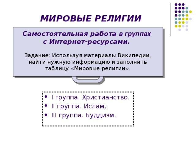 МИРОВЫЕ РЕЛИГИИ Самостоятельная работа в группах  с Интернет-ресурсами. Задание: Используя материалы Википедии, найти нужную информацию и заполнить таблицу «Мировые религии».