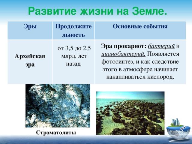 Развитие жизни на Земле. Эры Продолжительность  Основные события Архейская эра  Эра прокариот: бактерий и цианобактерий. Появляется фотосинтез, и как следствие этого в атмосфере начинает накапливаться кислород. от 3,5 до 2,5 млрд. лет назад Строматолиты