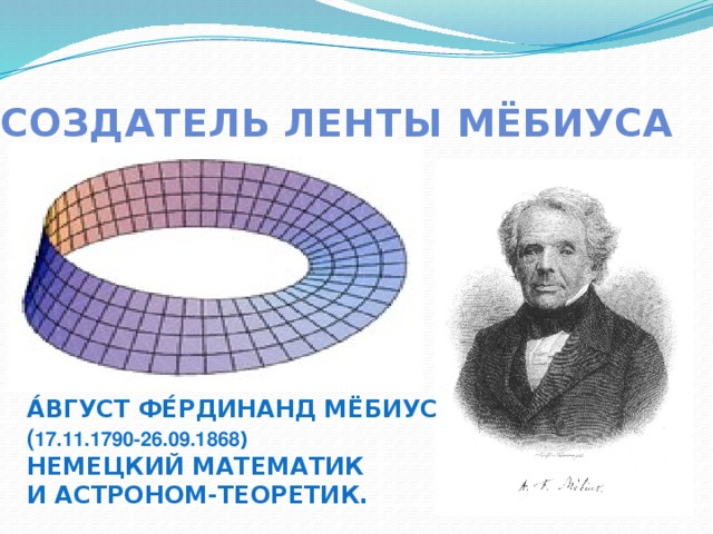 Создатель Ленты Мёбиуса А́вгуст Фе́рдинанд Мёбиус ( 17.11.1790-26.09.1868 ) немецкий математик и астроном-теоретик.