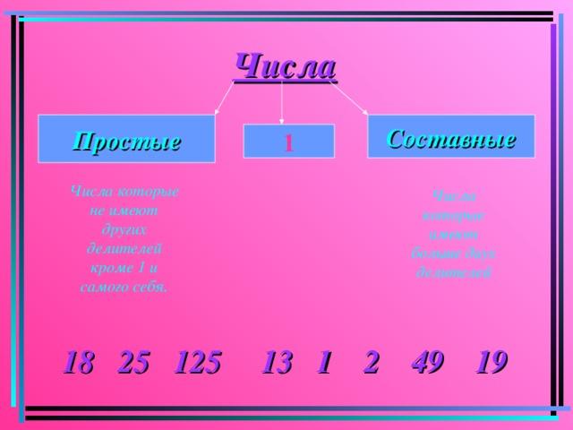 Числа Простые Составные 1 Числа которые не имеют других делителей кроме 1 и самого себя. Числа которые имеют больше двух делителей 18 25 125 13 1 2 49 19