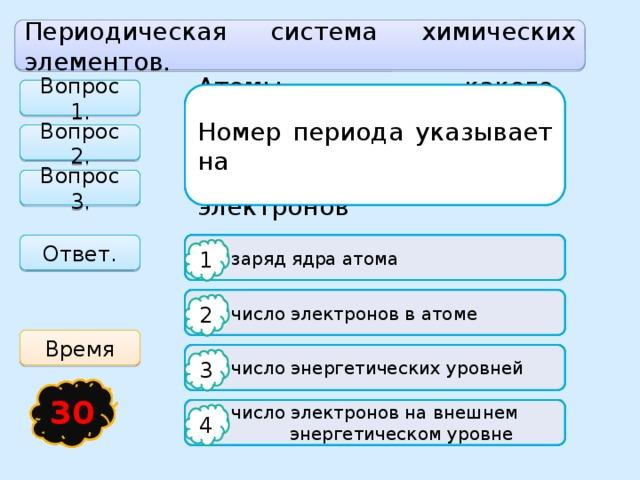 Периодическая система химических элементов. Вопрос 1. Химический элемент - Номер периода указывает на Атомы какого химического элемента имеют в своём составе 5 протонов, 6 нейтронов, 5 электронов Вопрос 2. Вопрос 3. Ответ.   заряд ядра атома  Простое вещество  Углерод 1 1 1   число электронов в атоме  Натрий  Электрод электропечи 2 2 2 Время  Вид одинаковых молекул  Бор   число энергетических уровней 3 3 3 17 16 15 19 20 14 18 23 21 22 12 24 25 26 27 28 29 13 3 11 4 10 1 2 30 5 6 7 8 9   число электронов на внешнем  Вид атомов, имеющих одинаковые  Неон  энергетическом уровне  свойства 4 4 4