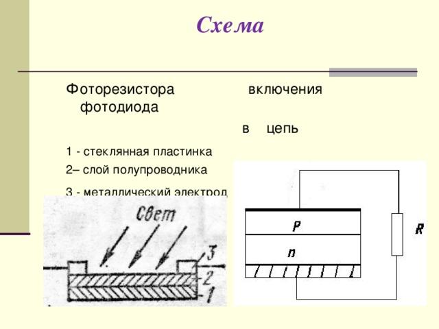 Схема Фоторезистора включения фотодиода  в цепь 1 - стеклянная пластинка   2– слой полупроводника 3 - металлический электрод