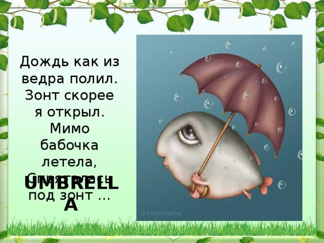 Дождь как из ведра полил.  Зонт скорее я открыл.  Мимо бабочка летела,  Спряталась под зонт … UMBRELLA