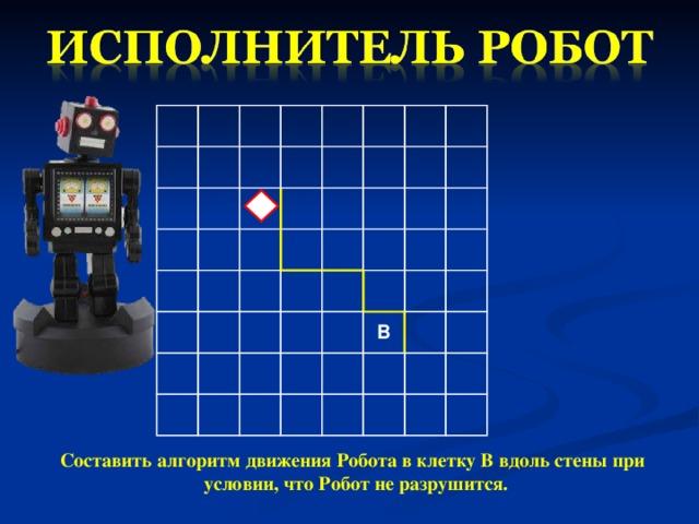 В Составить алгоритм движения Робота в клетку В вдоль стены при условии, что Робот не разрушится.