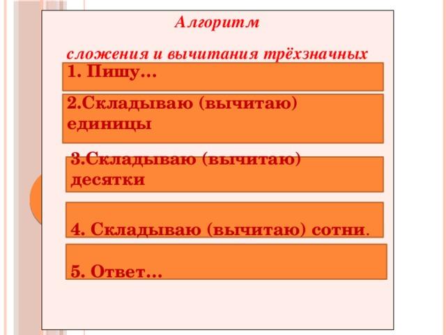 Алгоритм сложения и вычитания трёхзначных чисел       1. Пишу…  2.Складываю (вычитаю) единицы   3.Складываю (вычитаю) десятки   4. Складываю (вычитаю) сотни .   5. Ответ…