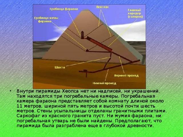 Внутри пирамиды Хеопса нет ни надписей, ни украшений. Там находятся три погребальные камеры. Погребальная камера фараона представляет собой комнату длиной около 11 метров, шириной пять метров и высотой почти шесть метров. Стены усыпальницы отделаны гранитными плитами. Саркофаг из красного гранита пуст. Ни мумия фараона, ни погребальная утварь не были найдены. Предполагают, что пирамида была разграблена еще в глубокой древности.